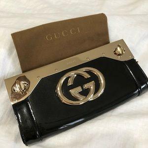 Gucci - Black Patent Starlight Clutch